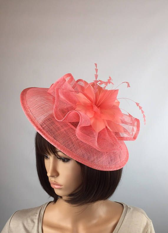 56bed3bc Coral fascinator on hair band. Salmon Wedding hatinator wedding hat ladies  day ascot races occasion prom party
