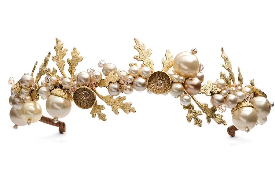 Petworth Gold Acorn And Pearl Wedding Tiara