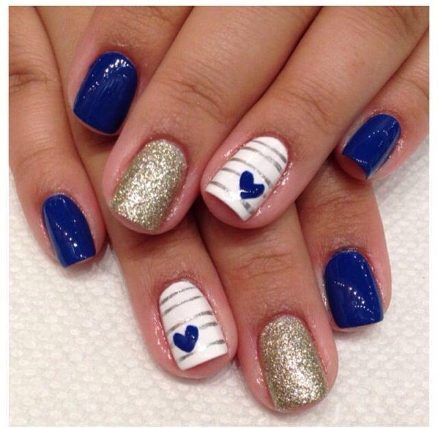 Blue heart. Nautical Nail DesignsNautical ... - Wedding Cake Makeup, Gel Nail Art And Girls Nails