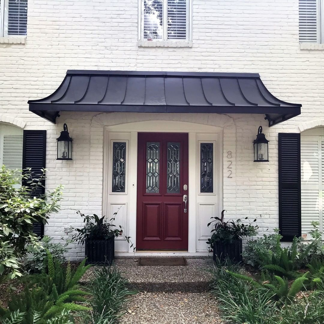 Awningdesign Posted To Instagram The Black Metal Juliet Door Awning Awnings Copperawning Metalawning Fro House Awnings Metal Front Door Front Door Canopy