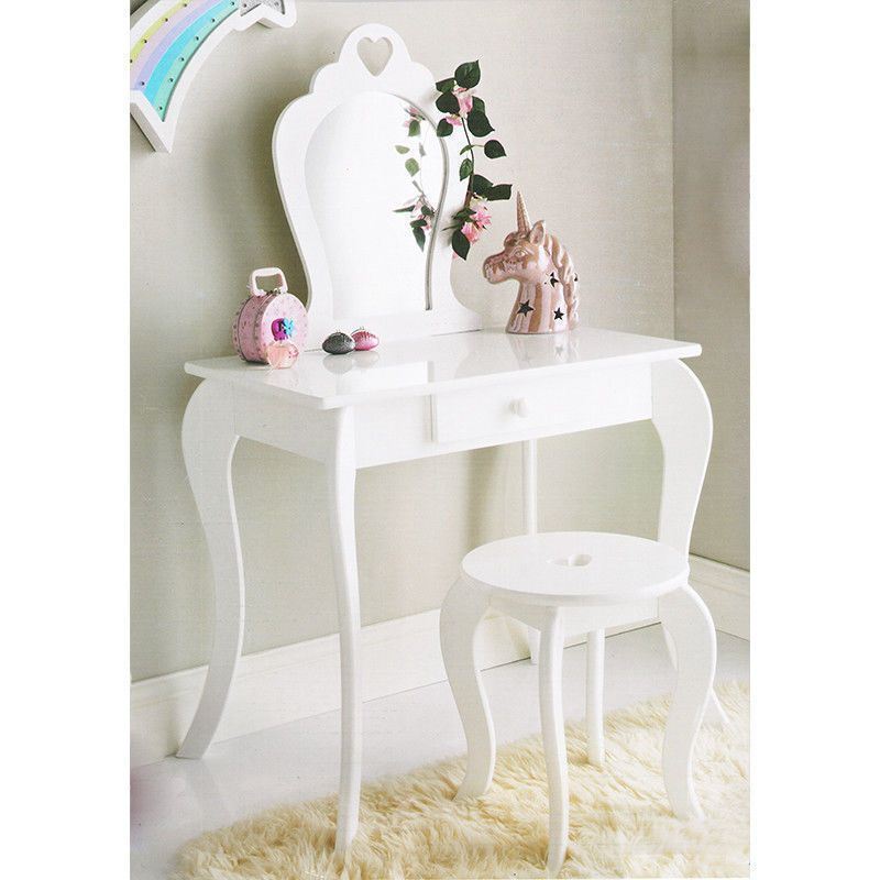 New Childrens Wooden White Amelia Vanity Set Dressing Table With