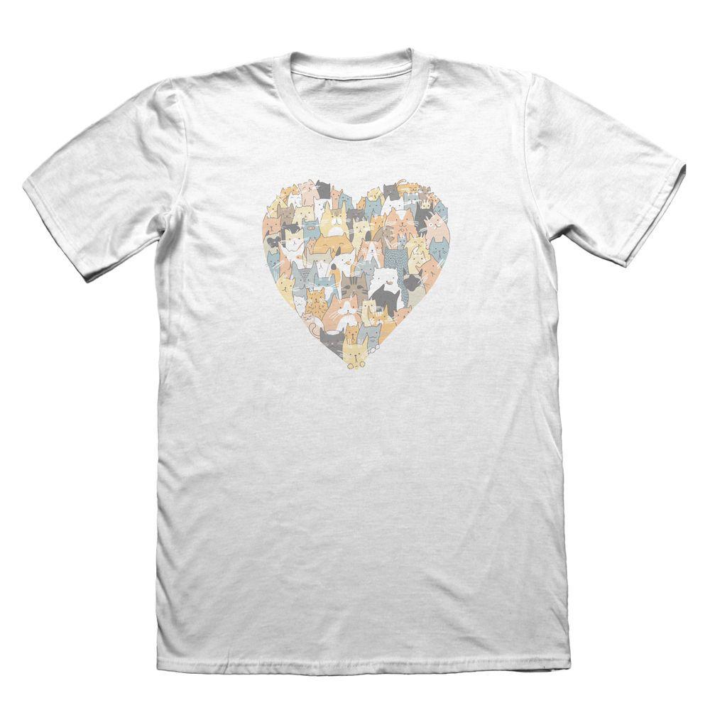 Cat Love Heart Design TShirt  Funny Mens Gift    T