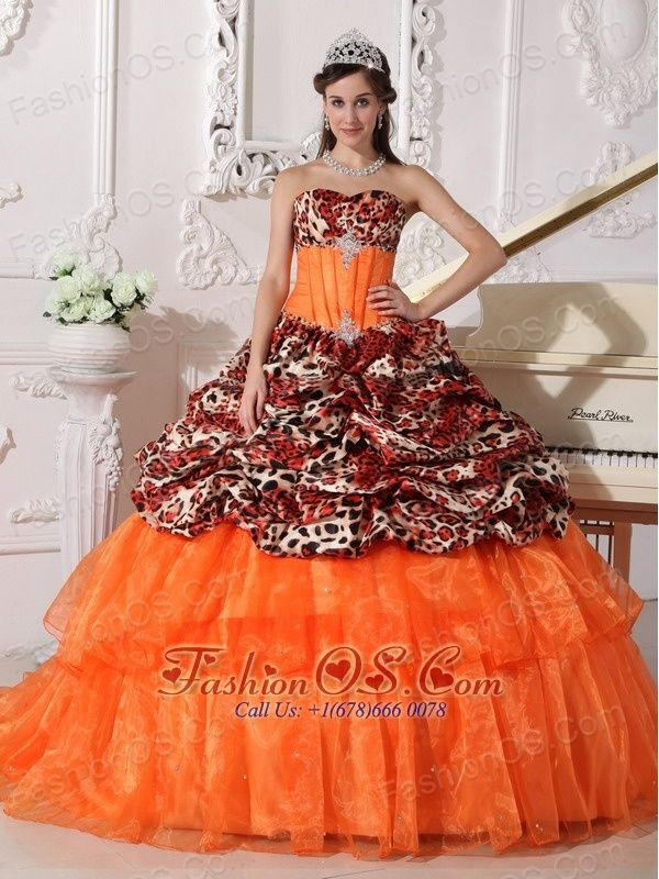 996b0b88eb7 Sweetheart Sweep   Brush Train Leopard and Organza Appliques Ball Gown  http   www