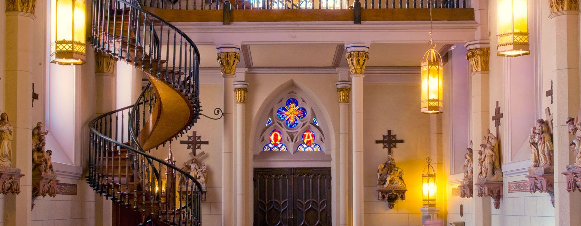 Best Sante Fe Wedding Venue Historic Staircase Loretto 400 x 300