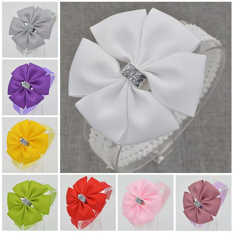 22 color Baby hair bow flower Headband Silver ribbon Hair Band Handmade DIY hair