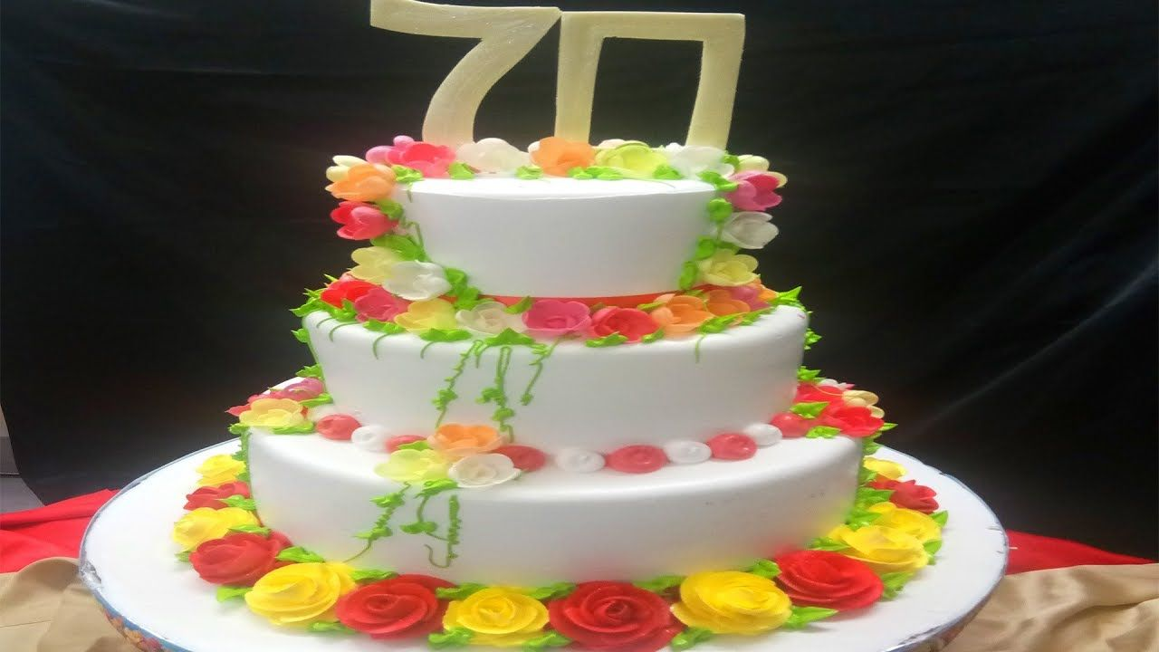 How To Make Steps Cake With Flowers For 70 Years Old Man
