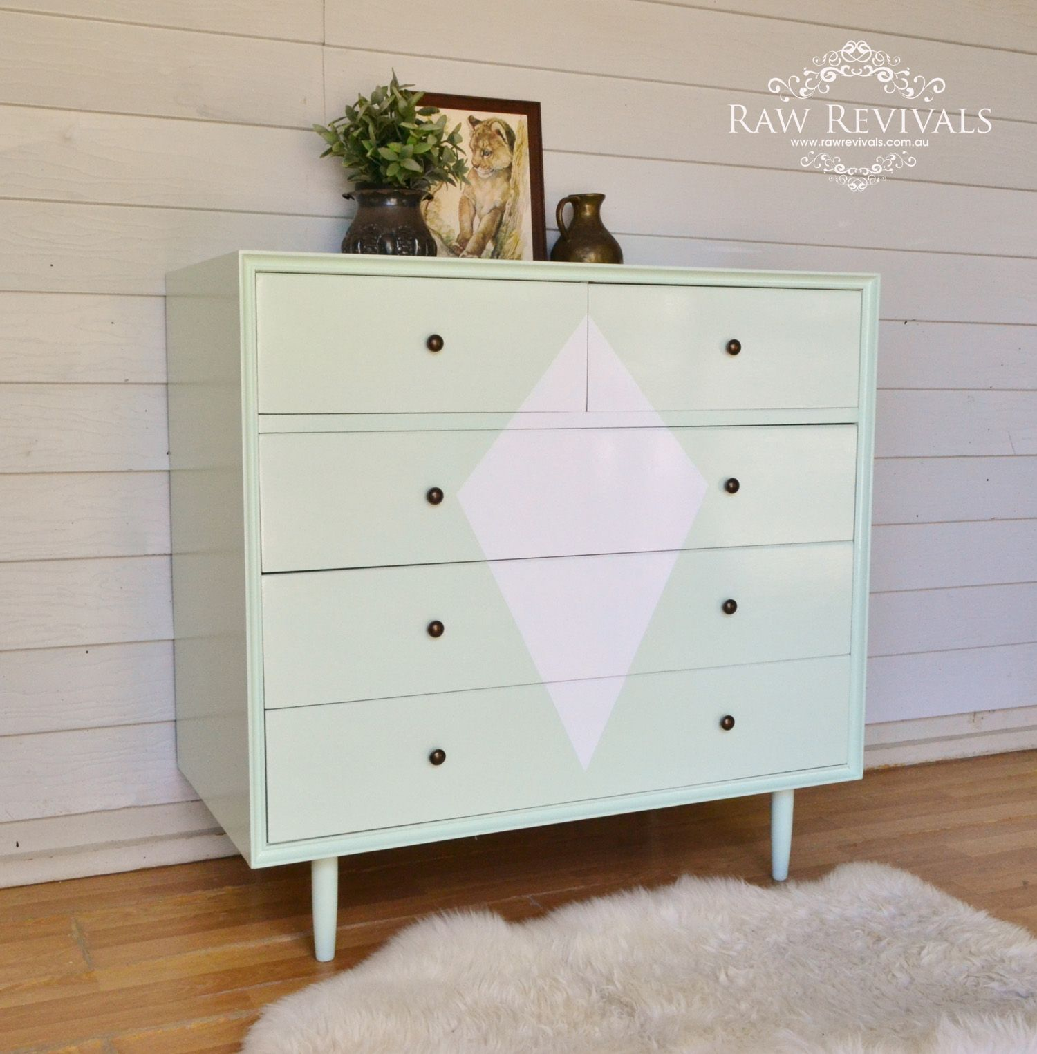 Pastel Mint drawers painted with geometric diamond on the
