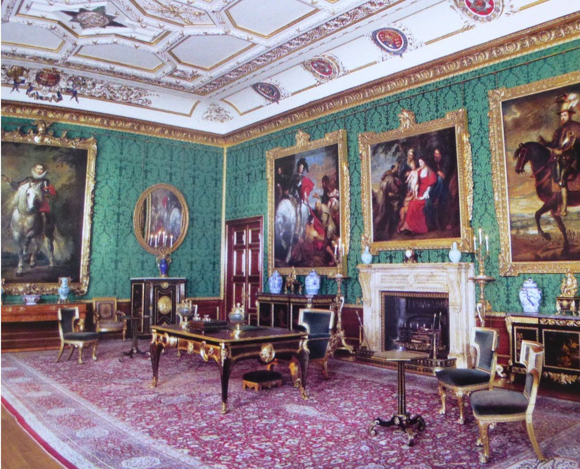 windsor castle. humphries weaving supplied a green silk and cotton