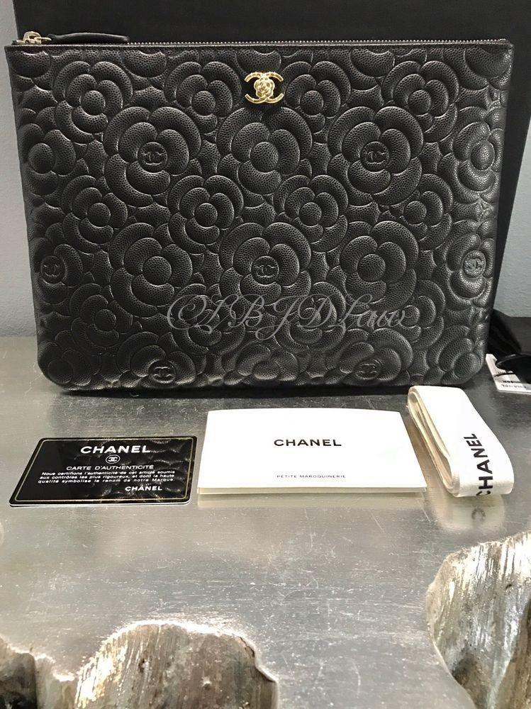 337e56d955c210 NWT Chanel Black Caviar Camellia SLG Medium O-Case Zip Pouch Evening Clutch  Gold #CHANEL