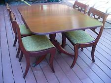 Vintage 1940s Mahogany Drop Leaf Dining Table With 4 Lyre Back Chairs Dinette Dining Room Suites 1940s Home Dining Room Furniture
