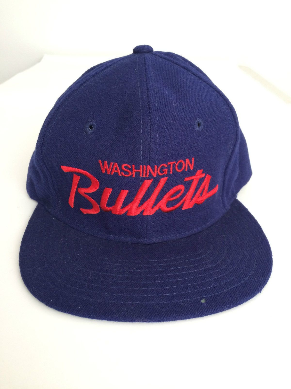 a814bd747a8 Washington Bullets Vintage Snapback Hat Cap Script Writing Over 20 Years  Old