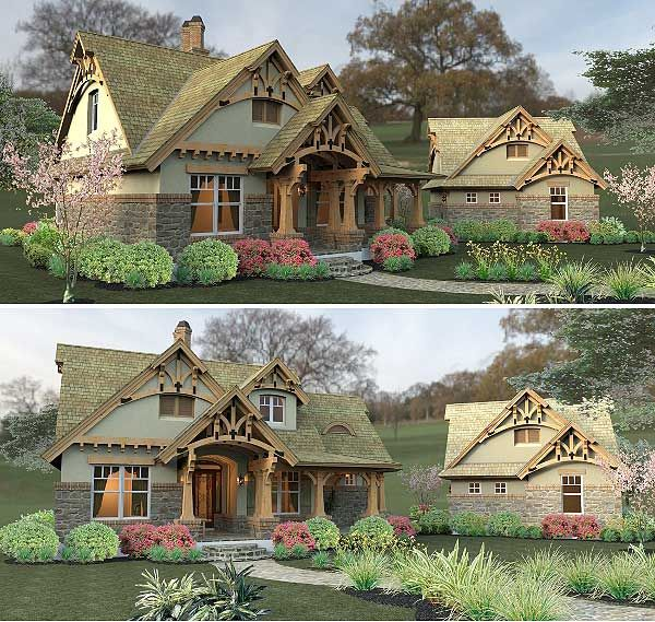 Plan 16812wg rustic look with detached garage house for Piani di casa cottage garage