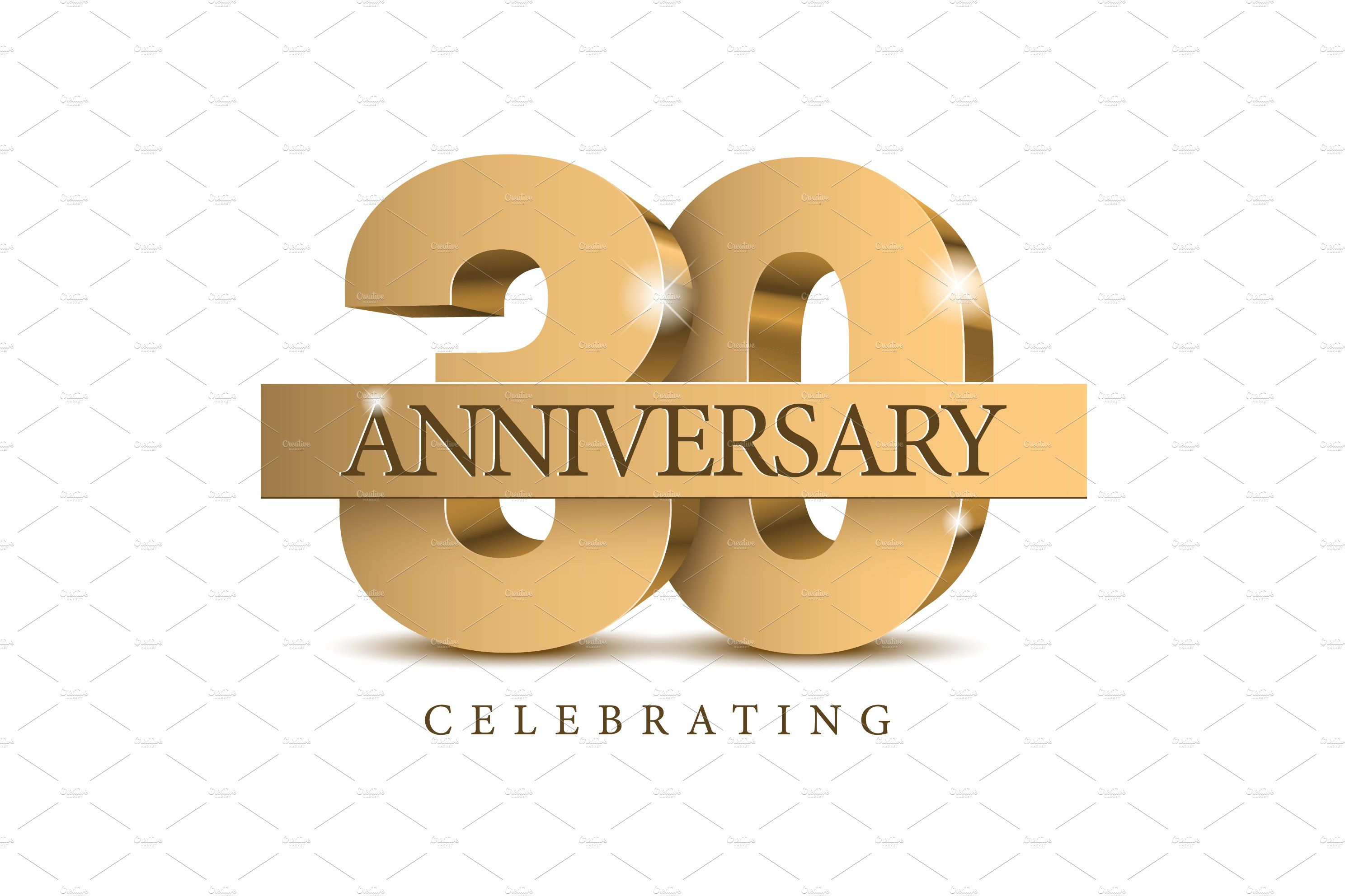 Anniversary 30 gold 3d numbers in 2020 anniversary