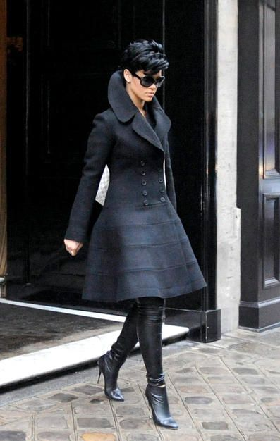 Celebrity street style | Dress coat and leather boots.