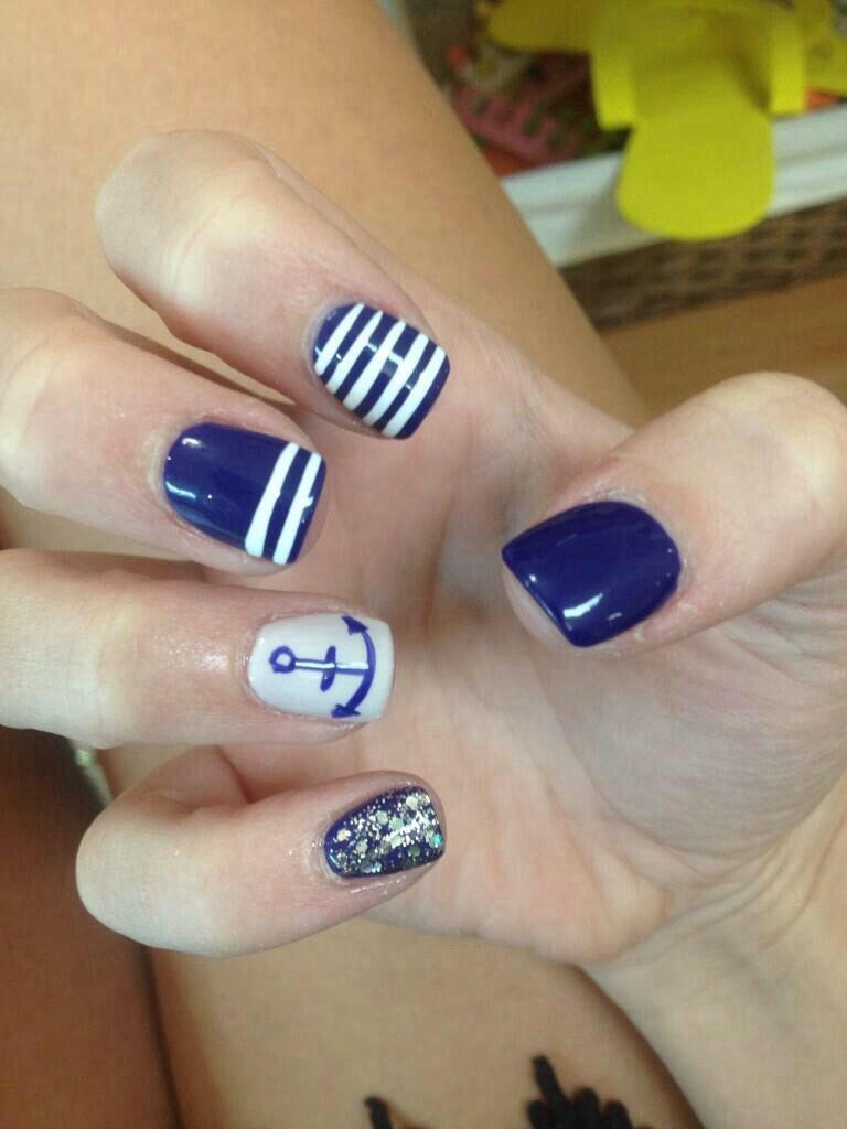 Navy blue anchor nails   Nail ideas   Pinterest   Anchor nails and ...