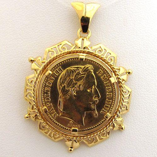 Pièce de 20 francs Napoléon or pendentif