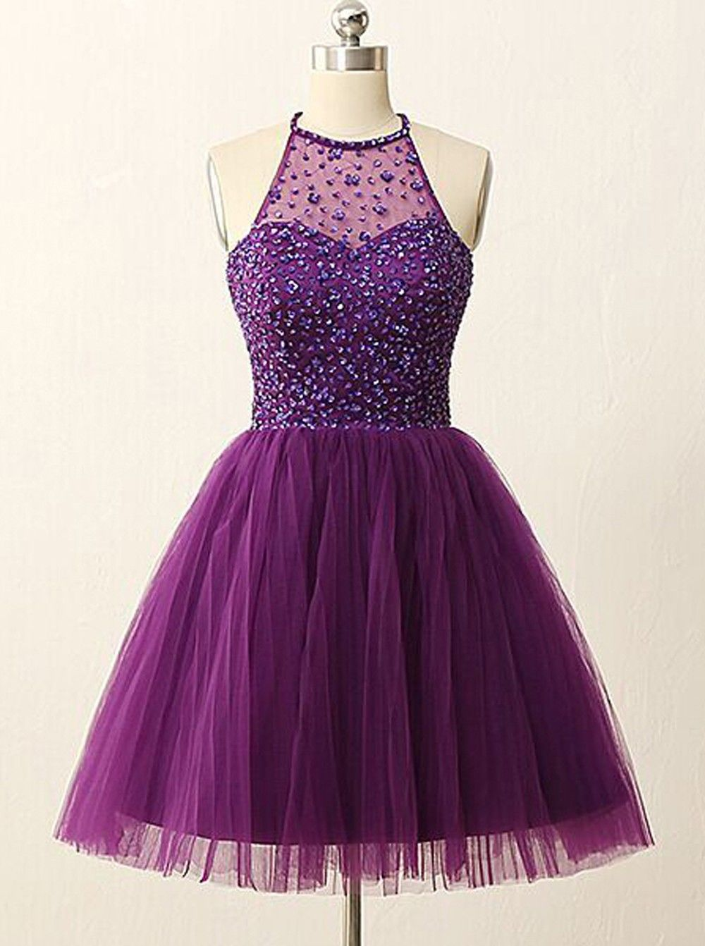 A-line Halter Knee-Length Tulle Backless Purple Prom Homecoming ...