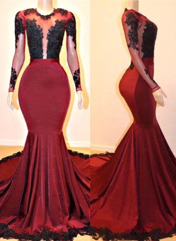 731e2a90fa3 Gorgeous Long Sleeve Burgundy Prom Dresses