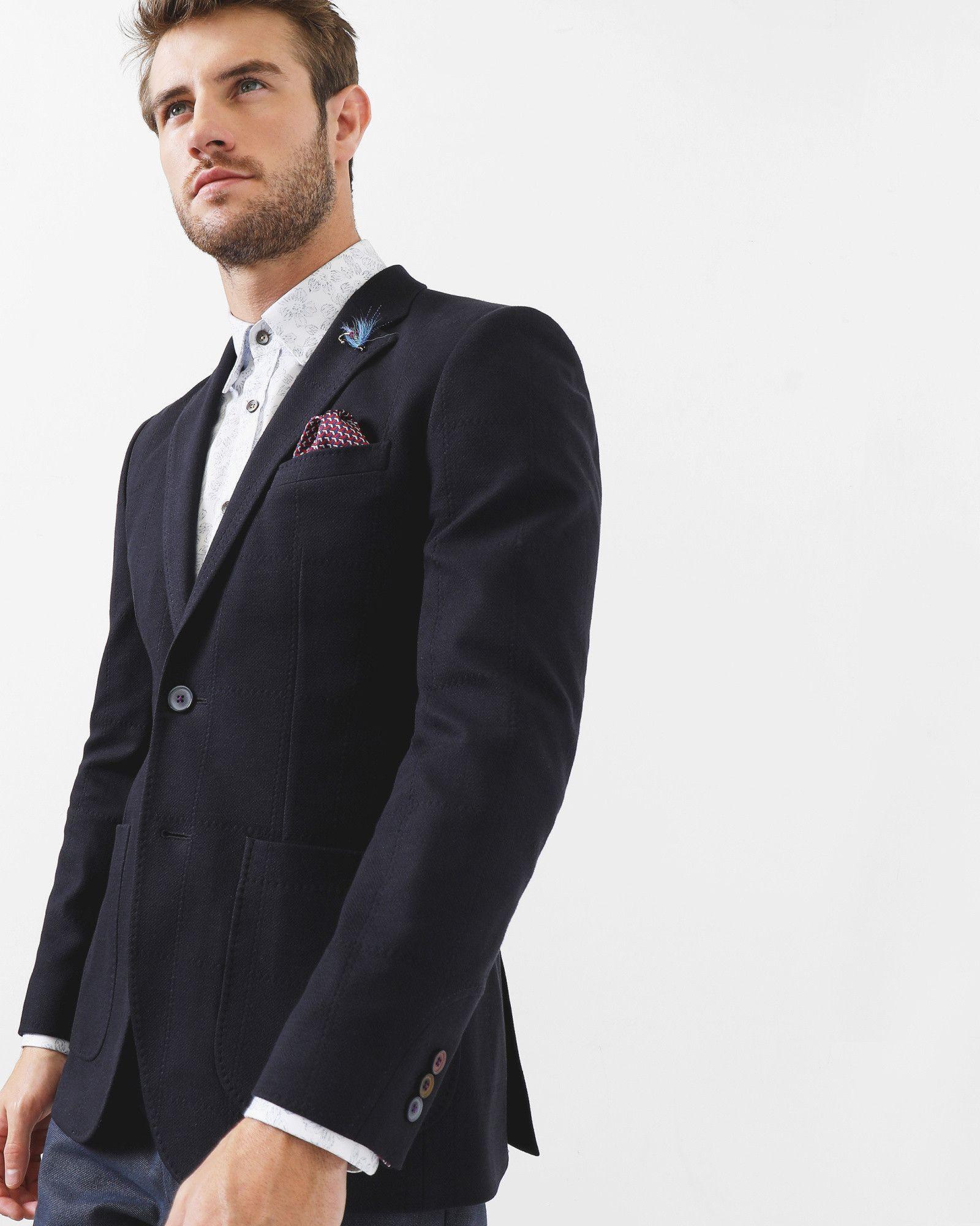 Mens Designer Blazers Uk | Tight Lines Cotton Blazer Navy Blazers Ted Baker Uk Stuart