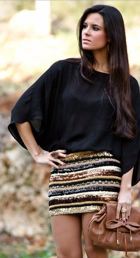 Y Fashion Fashion Dorada Negro Falda Look Style Con Pinterest qHaZw7F