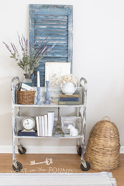 A Vintage Library Cart Makeover - Lost in the Found