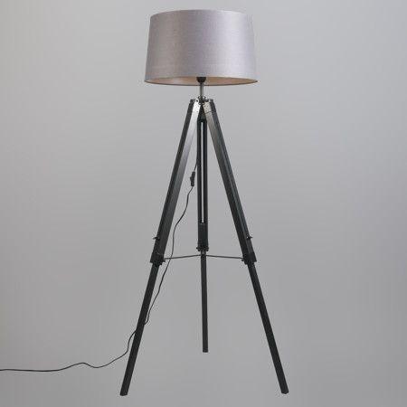L mpara de pie tripod negra con pantalla 45cm lino gris - Iluminacion de pie ...