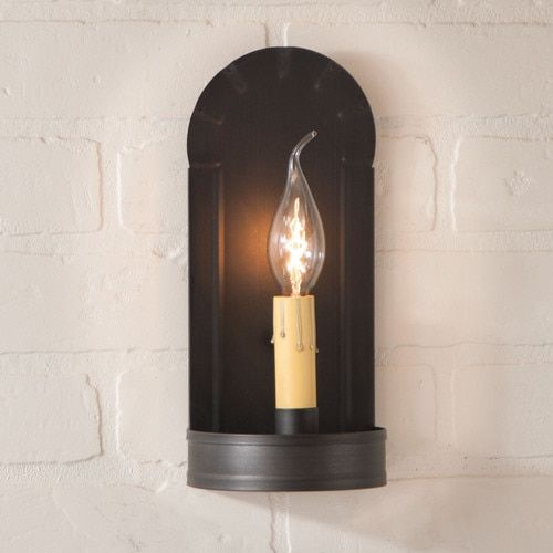 Country Primitive Farmhouse Tin FIREPLACE WALL SCONCE LIGHT in RUSTIC TIN