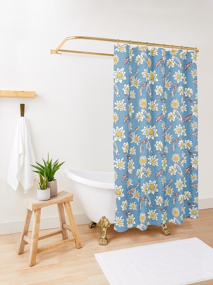 Shower curtains featuring koi fish and water lilies pattern. 12 button holes (shower hooks and liner not included), made from 100% Polyester. Vivid, full color print on front, white on back. Machine wash cold. #koifish #fish #waterlily #waterlilies #lilies #flower #floral #water #shower #showercurtains #showerdecor #bathroom #bathroomdecoration #bathroomdecor #curtains #pattern #cool #trendy #curtaindesign #showerdesign #coolshower #decor #showerideas #showers #bathroomdesign #bathroomideas