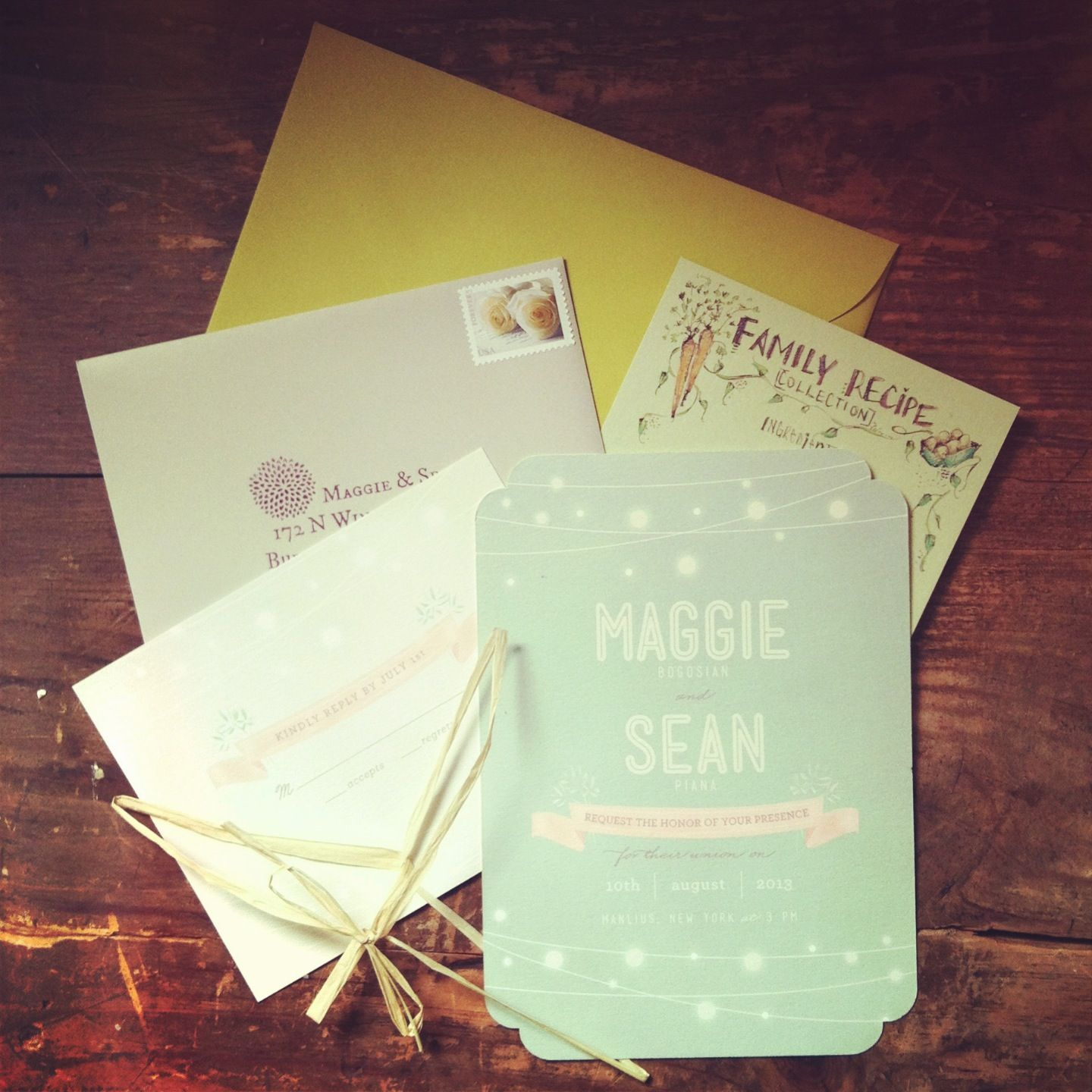 Wedding invitations with handmade family recipe collection RSVP card ...