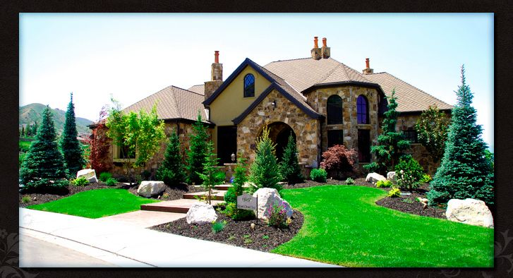 Evergreen Trees A Few Shrubs Boulders And Mulch Don T Need To Fill The Space Lawn And