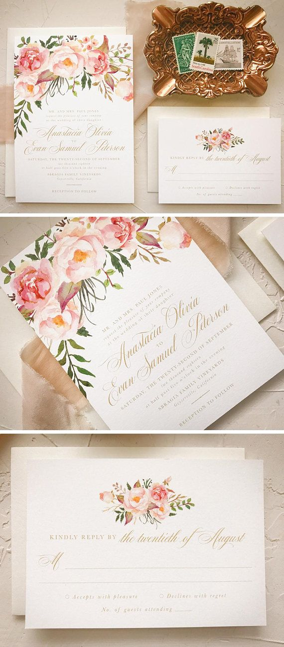 Blush Floral Wedding Invitation, Boho Chic Wedding Invites | Floral ...