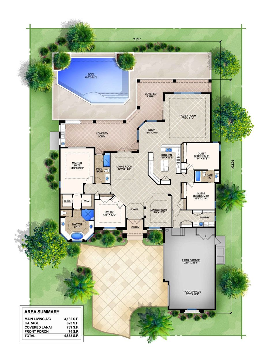 Darlen Is A 3 Bedroom 3 Bathroom Mediterranean Style Home Modular Home Floor Plans Basement House Plans Pool House Plans