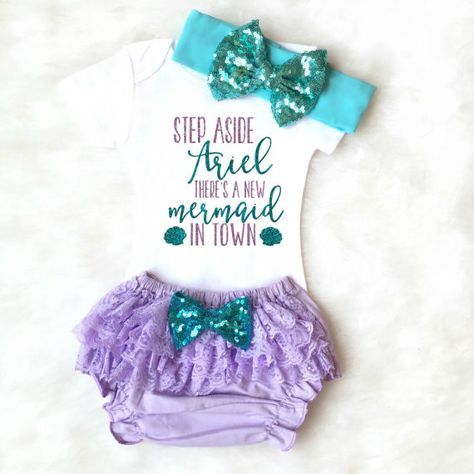 NEW Mermaid MINI Girls Hair Bows NB Toddler Bows. Set of 4  Under the Sea Party  Mermaid Baby Shower Gift  Littlr Mermaid