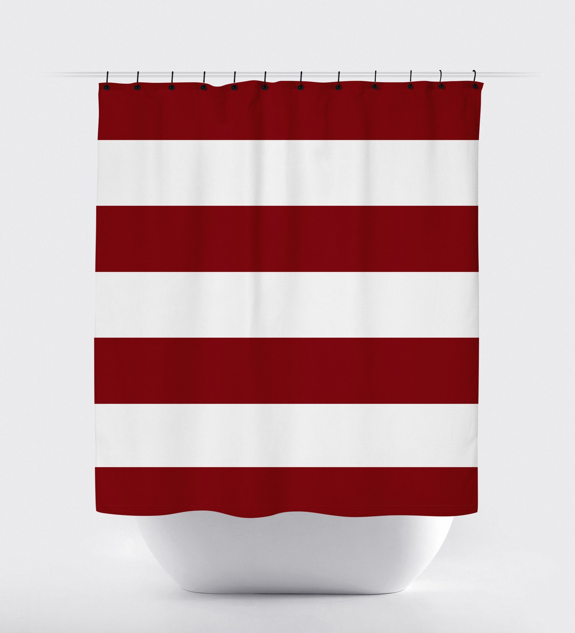 Red White Striped Shower Curtain Bathroom Rules Boy Curtains