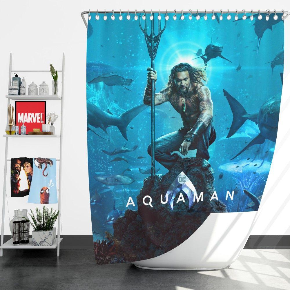 Aquaman Justice League Jason Momoa Shower Curtain Aquaman