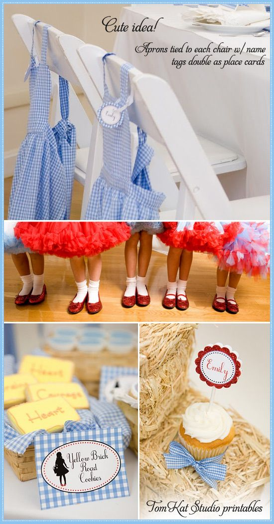 Cupcake Toppers etc. Signs Wizard of Oz Blue Dorothy Todo Ruby Slippers Gingham Happy Birthday Pennant Flag Theme Banner Favor Tags Matching Items Available