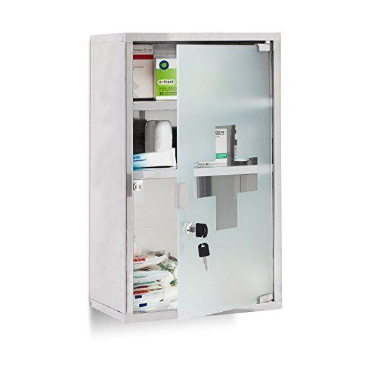 Relaxdays Armoire A Pharmacie Etagere Rangement Medicaments 3 Etages Hxlxp 50 5 X 30 X 18 Cm Porte Locker Storage Home Accessories Bathroom Medicine Cabinet