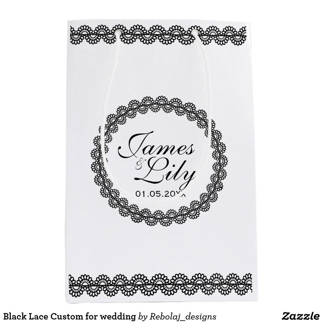 Black Lace Custom for wedding Medium Gift Bag | Wedding Favors ...