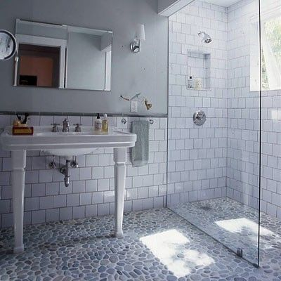 Hi Sugarplum Pebble Tile Pebble Shower Floor Cottage Bathroom Stone Shower Floor