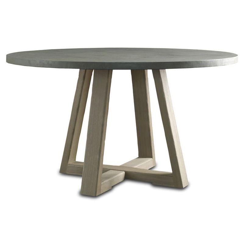 Bekah Industrial Rustic White Oak Cement Round Dining Table Round - Cement top round dining table
