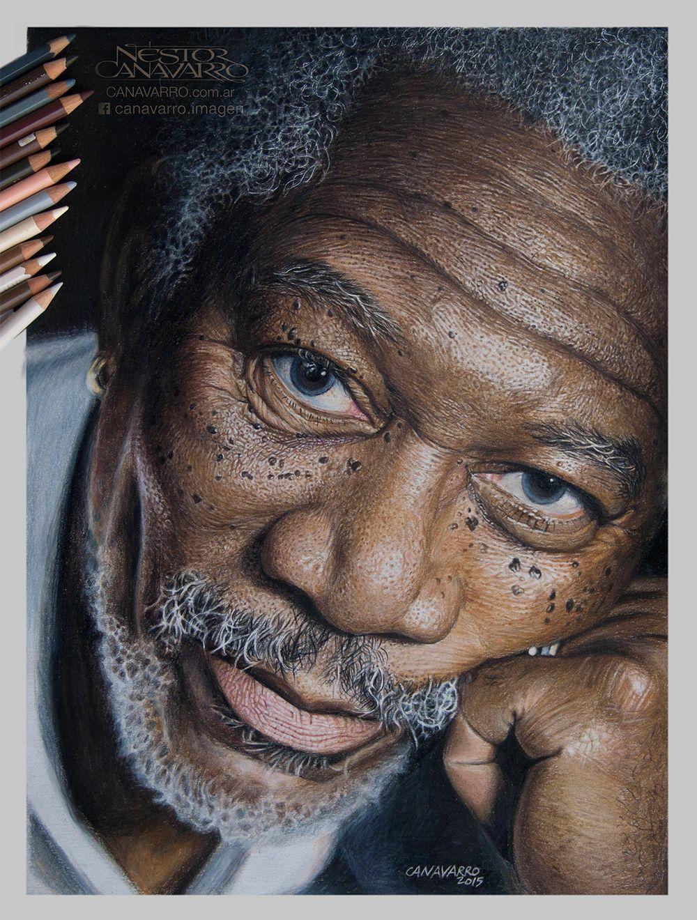 Morgan Freeman In Color Pencils On Behance Artistas Que Me