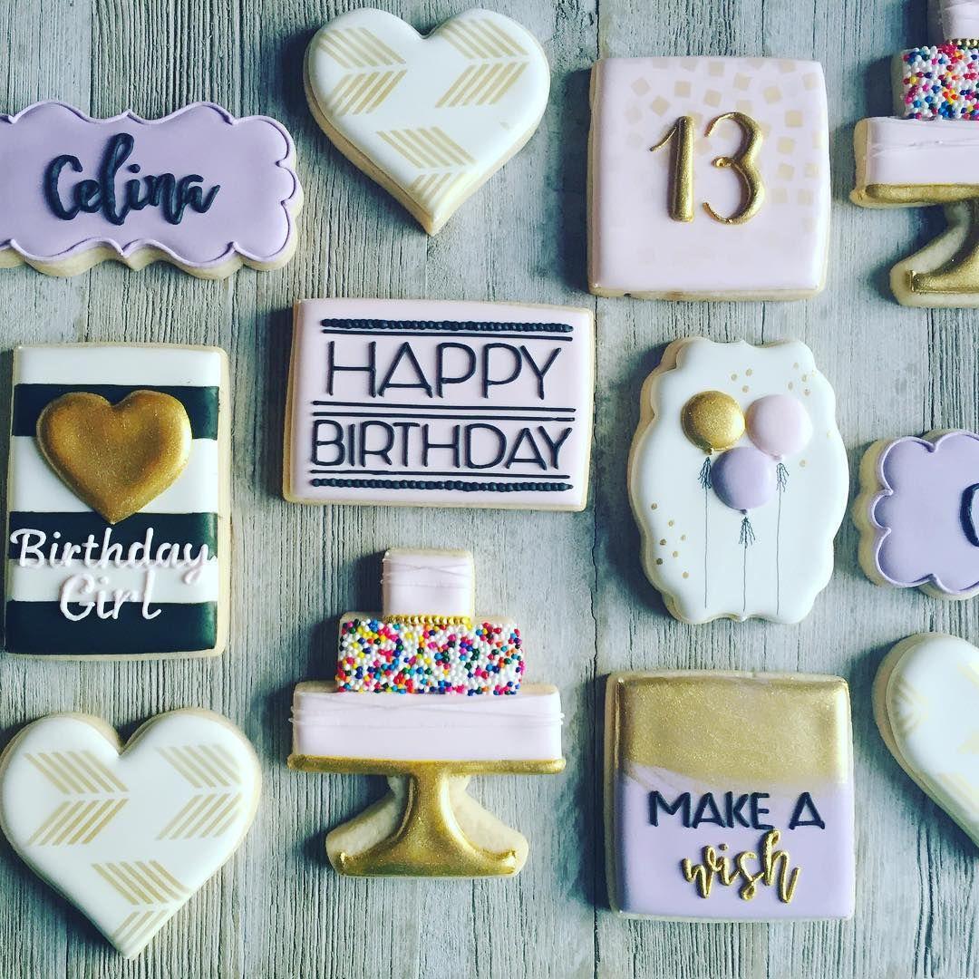 number 13 birthday cookies