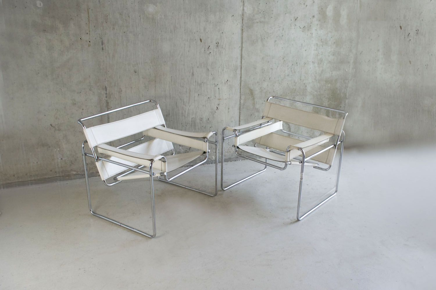 Pair Of Original 1960/70's White Leather Wasilly Chairs By