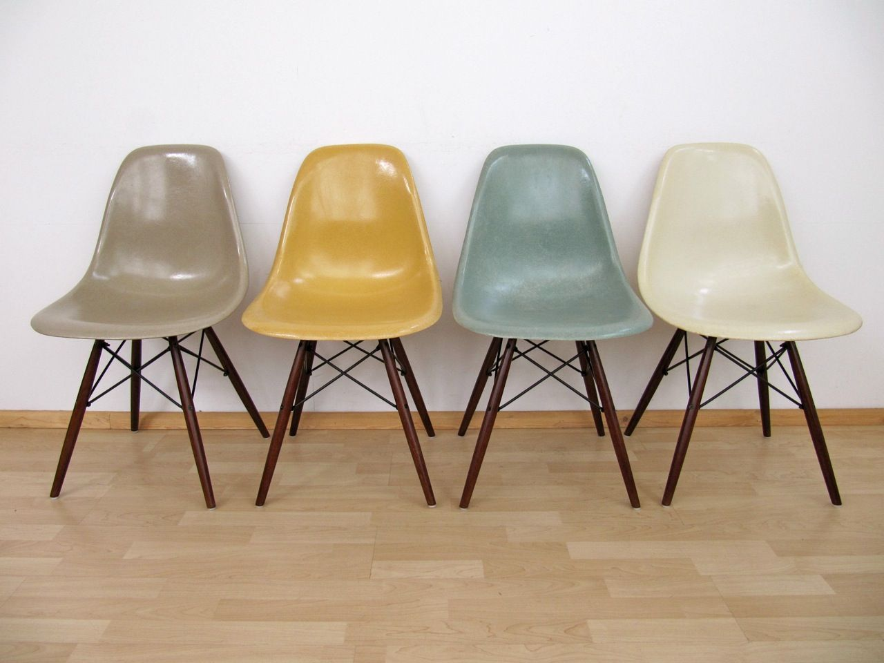 Eames chairs vitra taupe yellow blue cream. love the color
