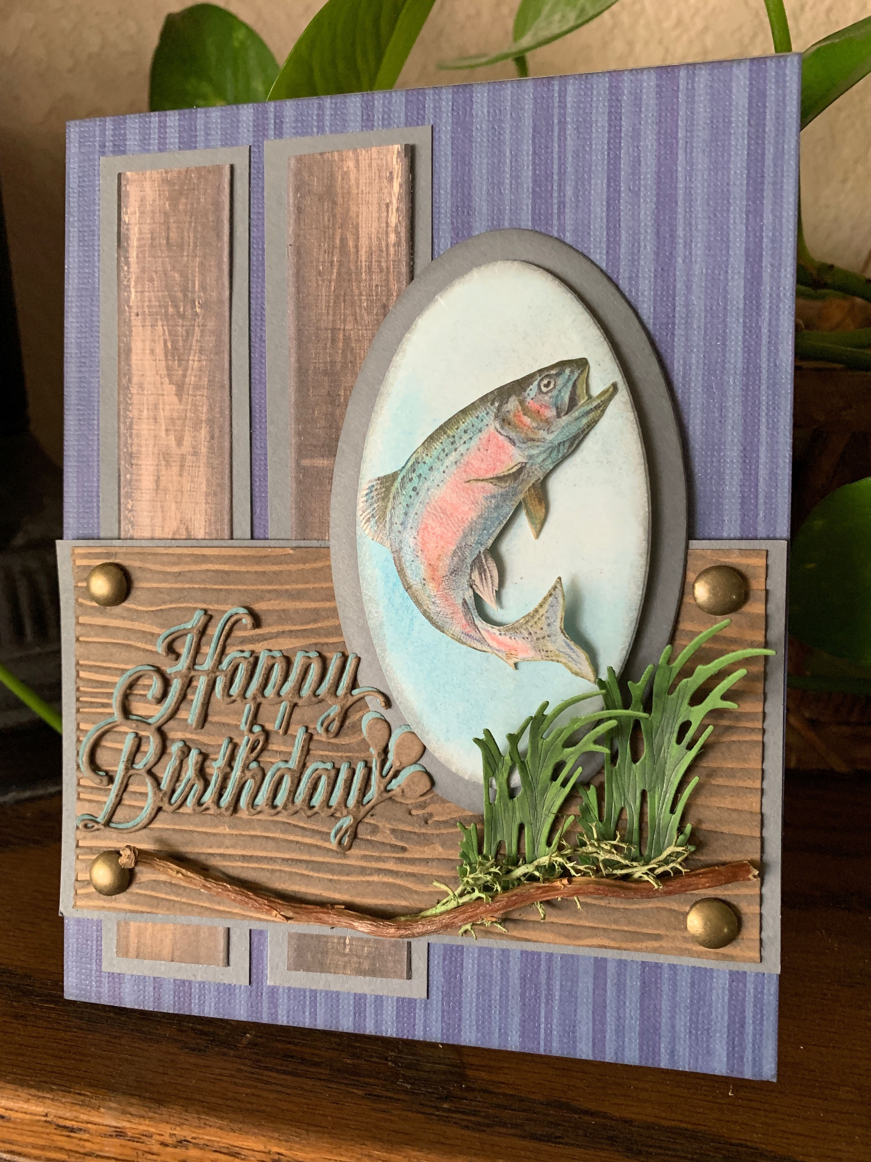 Masculine Fishing Card For Birthday Or Fathers Day With Birthday Wish Removed Handmade Fathers Day Cards Handmade Fishing Birthday Cards Fishing Cards