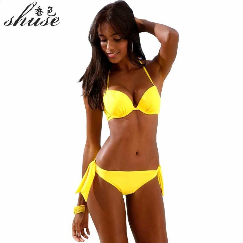 SHUSE 2018 Ny Gul Bikini Set Kvinnor Baddräkt Låg Midja Push Up Halter Top  Bandage Biquini Baddräkt Kvinna Brasilian Bating XL bb642a0deb759