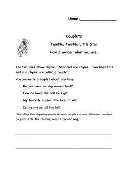 couplet worksheets school work 1st grade writing poetry unit worksheets. Black Bedroom Furniture Sets. Home Design Ideas
