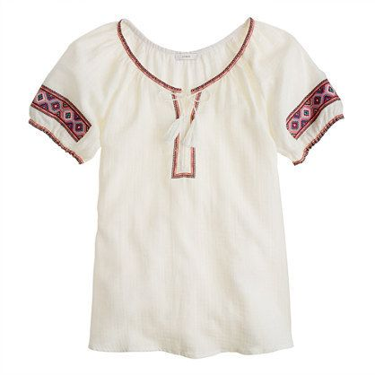 Embroidered Gauze Tunic by J.Crew