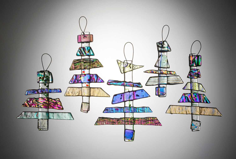 Dichroic Fused Glass Holiday Tree Ornaments/Sun Catchers - Handmade. $14.00, via Etsy.