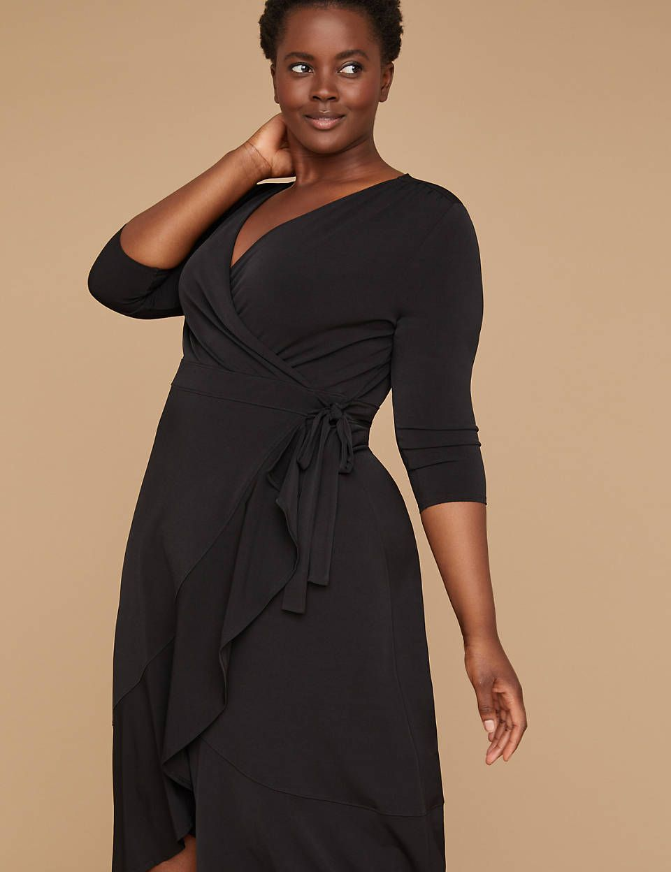 3/4 Sleeve Matte Jersey Wrap Dress - Black | Lane Bryant ...